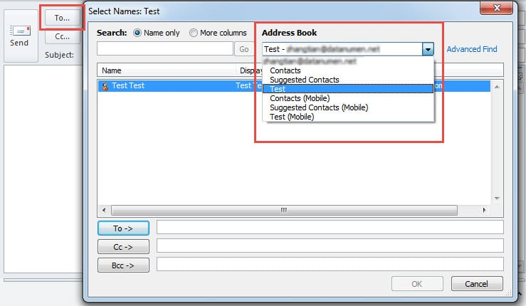 """Address Book in """"To"""" button"""