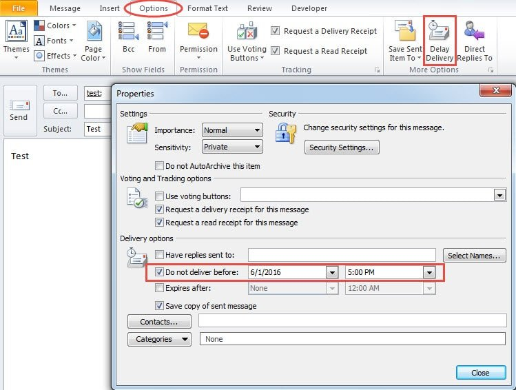 Delay Delivery to Force a Warning to Prevent Accidental Closing Outlook