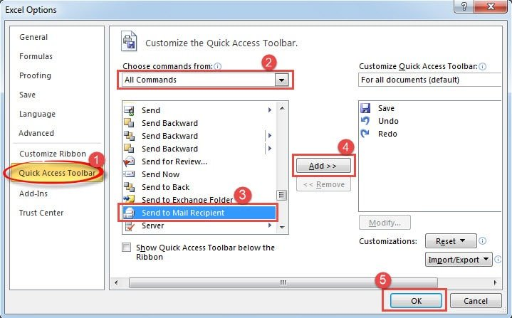 """Add """"Send to Mail Recipient"""" in Excel Options"""