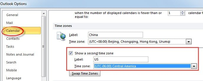 Show Two Time Zones in Outlook Calendar