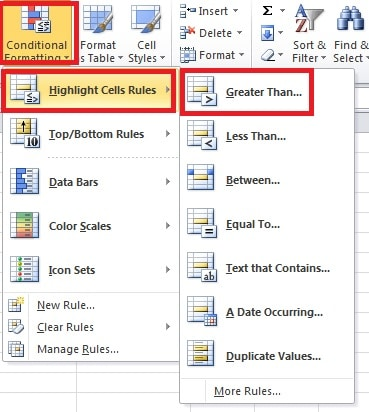 Click Highlight Cells Rules