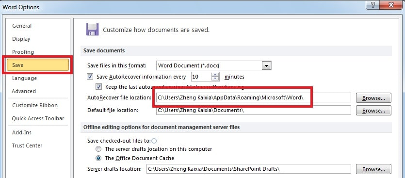 Find the location of auto-saved documents