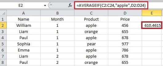 Average of Apple