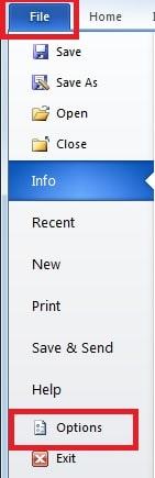 "Switch to ""File"" menu"