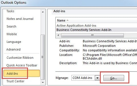 Verify Whether Outlook Add-ins is to Blame