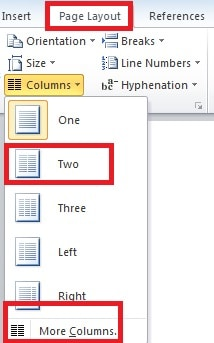Divide Texts into Two Columns