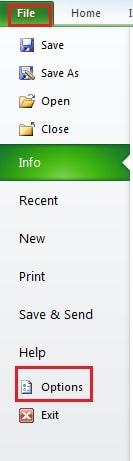 Open Excel Options