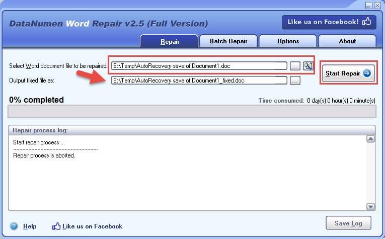 Repair .doc file with DataNumen Word Repair