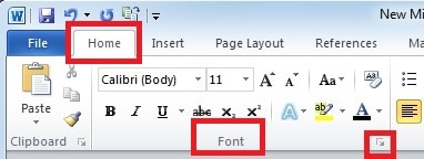 "Select ""Font"""