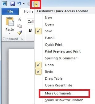 "Select ""more commands"""