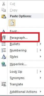 "Select ""Paragraph"""