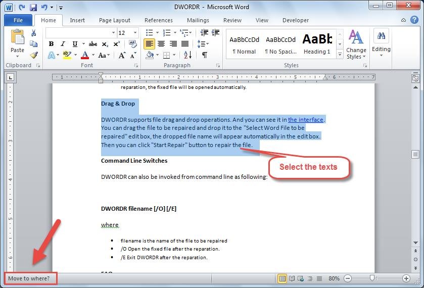 how to move a word document