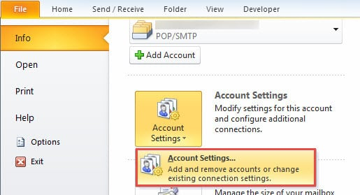 Account Settings Button