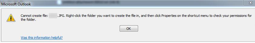 Outlook Error: Cannot Create File