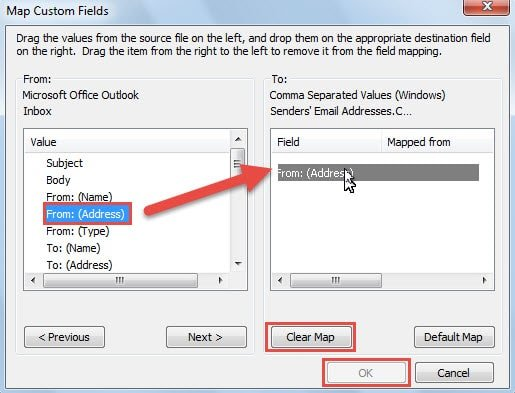 email addresses from excel document to outlook