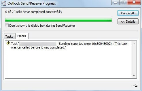 Outlook Error 0x80048002: This task was cancelled before it was completed