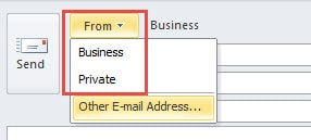 Select Account in Outlook 2010
