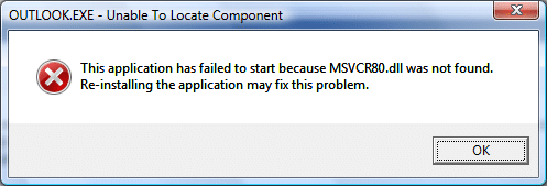 Error: This application has failed to start because MSVCR80.dll was not found.