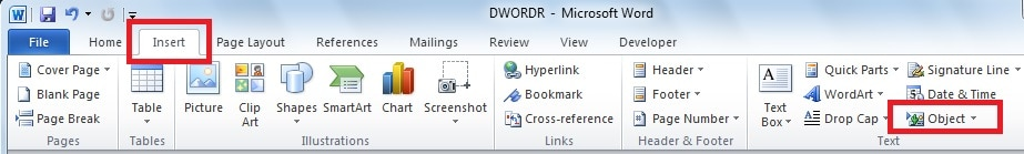 insert pdf object into word