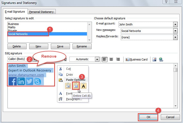 outlook live how to change signature