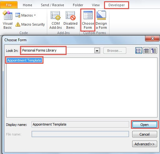 how to open a template in outlook 2010