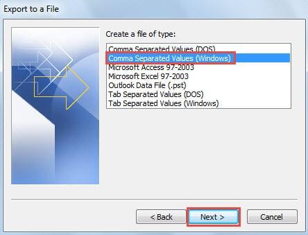 Comma Separated Values (Windows)