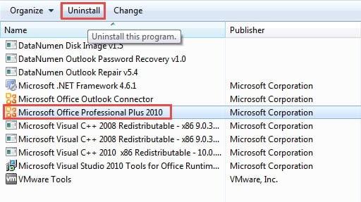 Reinstall MS Outlook