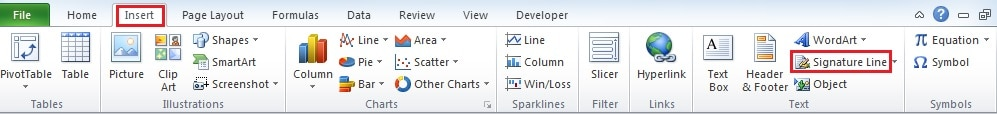 how to add signature in excel