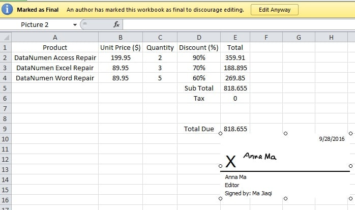 Technology Management Image: How To Add Digital Signatures To Your Excel Files