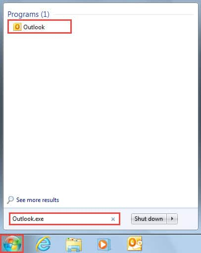 Search Outlook.exe in Start Menu