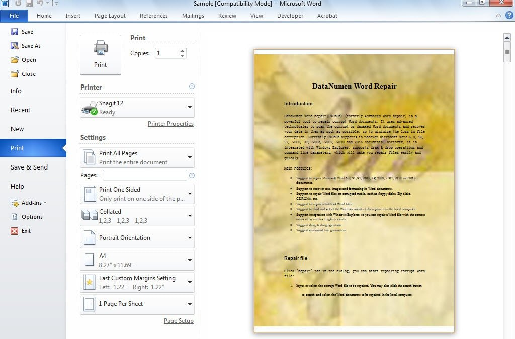 How To Print Word Documents With Background Colors Or Images