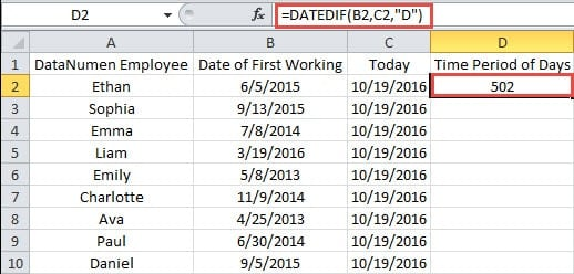 Excel difference between two dates in Australia