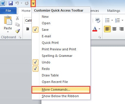 Add More Commands in Quick Access Toolbar