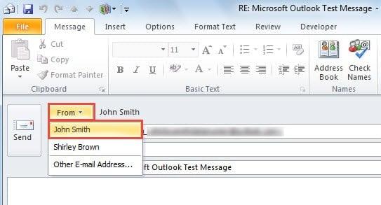 Change the sending account manually