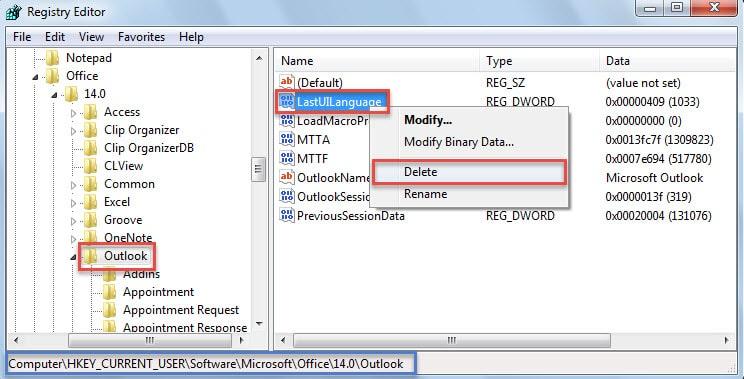 Delete LastUILanguage Registry Value