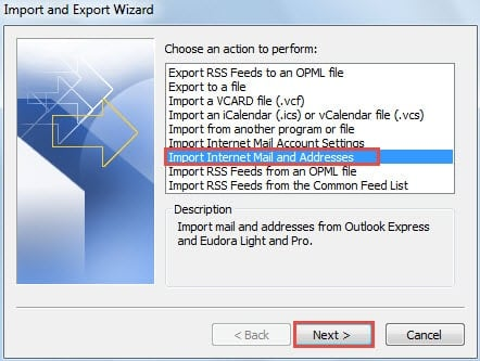 Import Internet Mail and Addresses