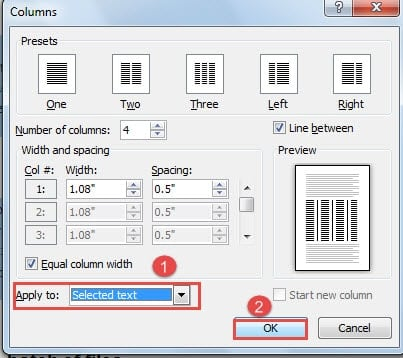 how to create multiple columns in word