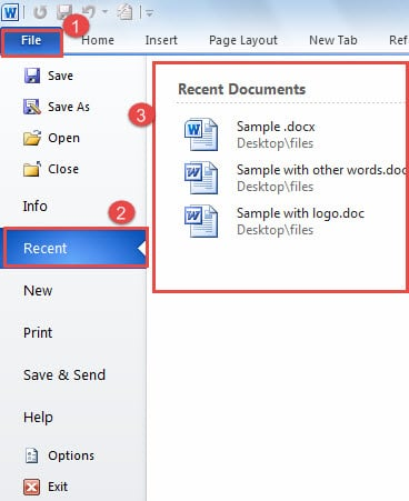 "Click ""File"" then Click ""Recent"" to See the Document List"