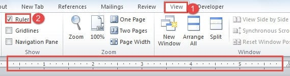 """Click """"View"""" ->Click """"Ruler"""" to Show It"""