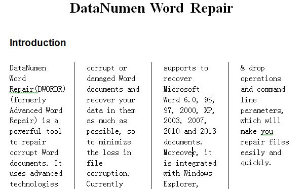 how to create a multi-column word document