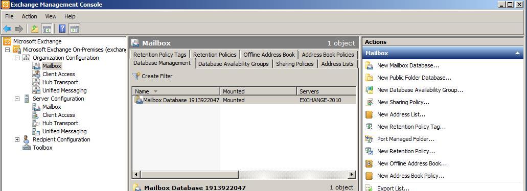 Create A New Database Using EMC