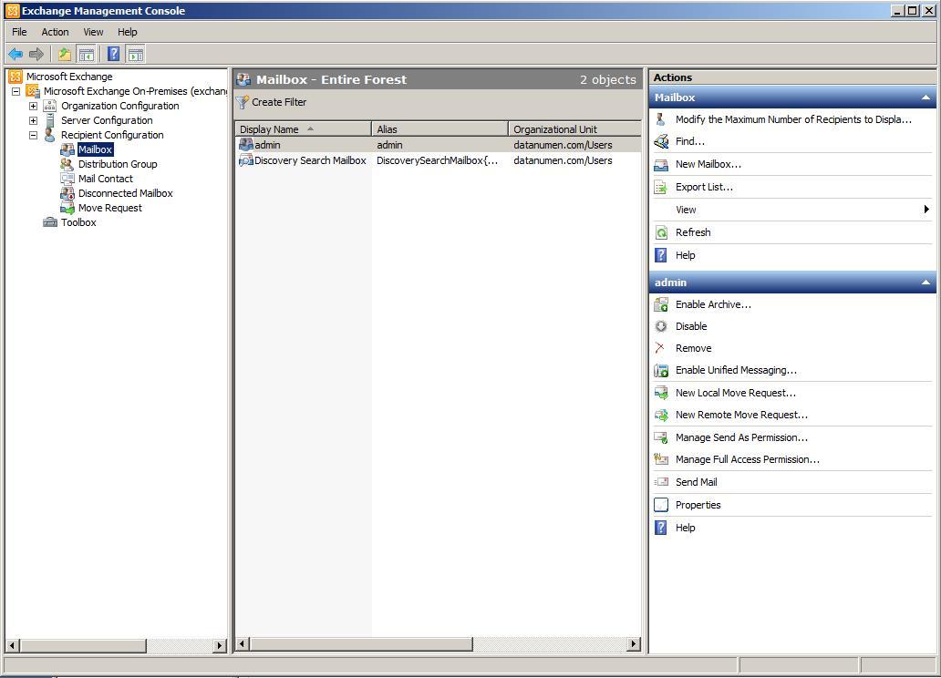 Create A User Mailbox Under Recipient Configuration Section