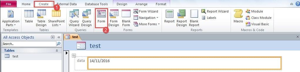 Create Access Form