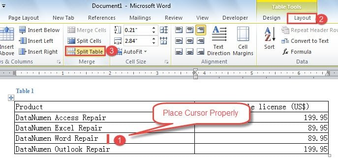 """Place Cursor Properly ->Click """"Layout"""" ->Click """"Split Table"""""""
