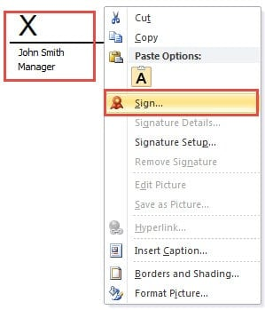 how to create a digital signature for word 2016