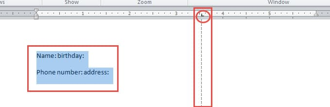 """Select Text ->Click on """"Ruler"""""""