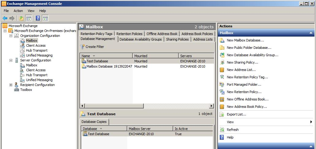 The Newly Created Database Listed Under The Mailbox Section