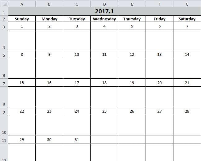 making a calendar in excel