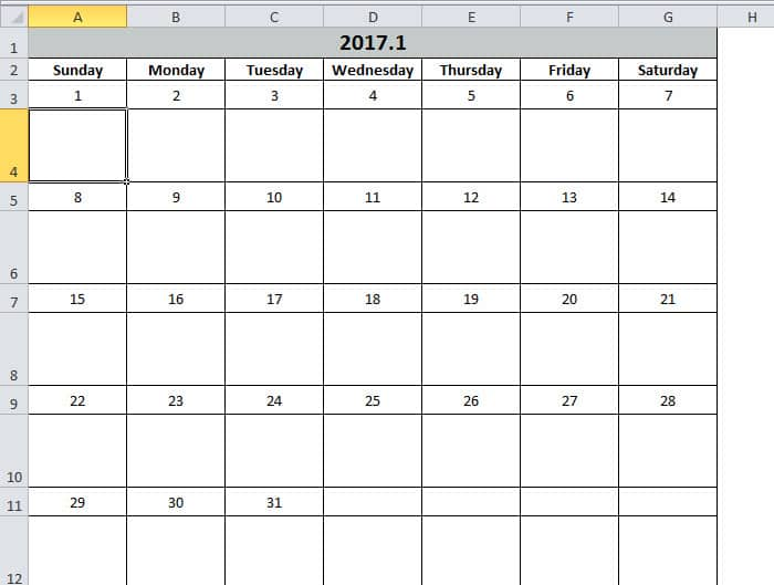 How to Create a Calendar in Excel