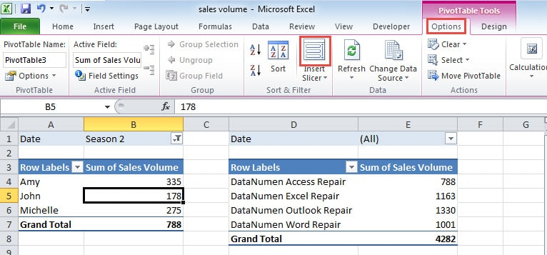 how to add slicer to pivot table